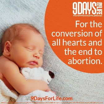 9 Days for Life is a novena program of prayer, penance, and pilgrimage for an end to the abortion holocaust, January 21 - 29, 2017.