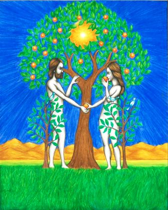 In this original book illustration, by Jason Koltuniak from Saved by the Alphabet, Adam and Eve commit the Original Sin.