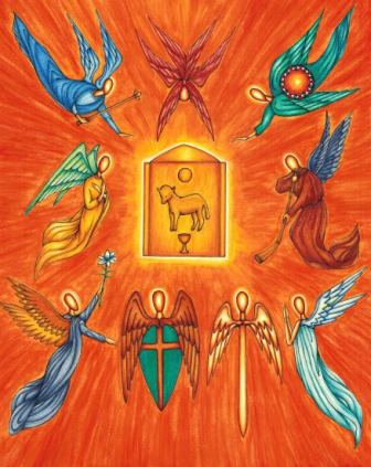 This original artwork of the Nine Choirs of Angels is by illustrator Jason Koltuniak, and it is published in the children's book, Counting on Faith.