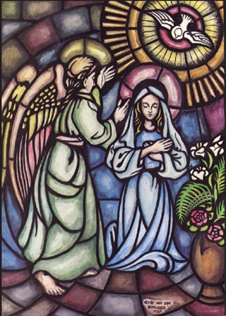 The angel Gabriel reveals to the Blessed Virgin Mary what God's plans are for her.