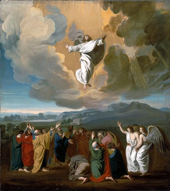 This painting of Jesus ascending into Heaven is by John Singleton Copley (1738-1815), and it is in the Museum of Fine Arts in Boston, Massachusetts.