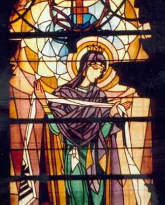 This beautiful stained glass image of the Virgin Mary was created by Ukrainian artist Petro Kholodny in 1924.