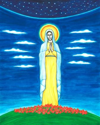 This original artwork of the Blessed Virgin Mary is by illustrator Jason Koltuniak, and it is published in the children's book, Saved by the Alphabet.