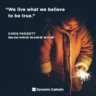We live what we believe to be true. This little girl holds a sparkler at night, an image of Jesus Christ the Light of the World, whom the darkness can never overcome.
