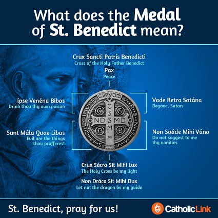 The Saint Benedict Medal is a popular Catholic sacramental for assistance in warding off evil.