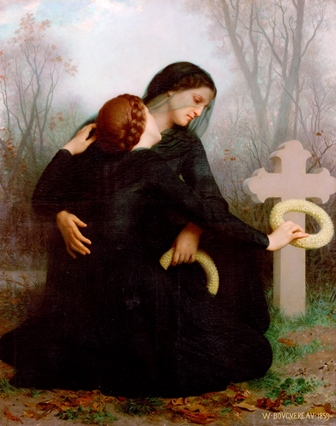 Women weeping in the cemetery is a poignant work of art by Bouguereau.