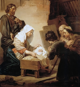 """Adoration of the Shepherds"" is a painting by Jan de Bray, a Dutch Golden Age artist, 1627 - 1697."