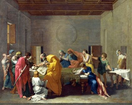 In this painting by Poussin, the priest anoints the dying man with holy oils while his family watches and prays.