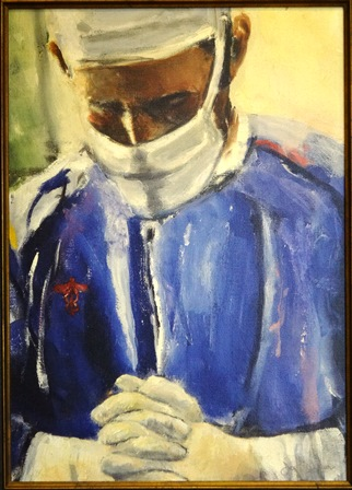 This painting of a doctor in prayer before surgery is in the office of Dr. Mark Hickman, a Catholic surgeon in San Antonio, Texas.