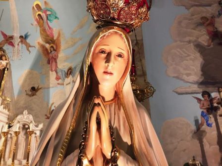 The Statue of Our Lady of Fatima is based on the apparitions of the Blessed Virgin Mary to three shepherd children at Fatima, Portugal in 1917.