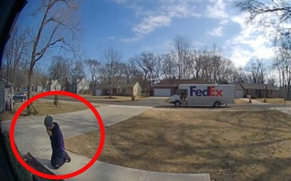 A home security camera captured footage of a FedEx driver kneeling in prayer after being inspired by seeing a stature of the Blessed Virgin Mary.