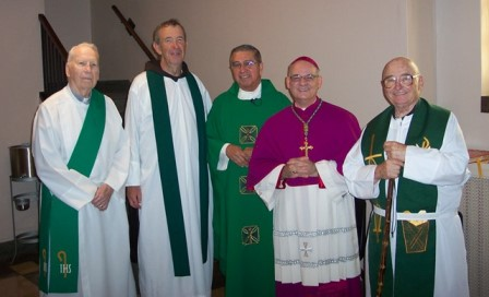 Very Rev. Philip Sosa, M.S.F. (middle) celebrated his 50th anniversary of ordination as a Priest of Jesus Christ at Saint Wenceslaus Church in Saint Louis, Missouri in August 2018.