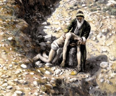 This compassionate artwork by James Jacques Joseph Tissot, 1836-1902, shows a Good Samaritan man picking up the almost-dead body of a stranger.