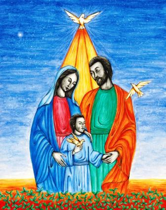 This original artwork of the Holy Family of Jesus, Mary, and Joseph is by illustrator Jason Koltuniak, and it is published in the children's book, Counting on Faith.