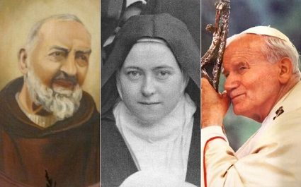 Padre Pio, Therese the Little Flower, and John Paul II are three saints known for the virtue of hope.