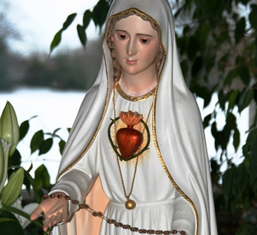 This statue of Our Lady of Fatima, featuring the Immaculate Heart of Mary, is owned by the World Apostolate of Fatima in Saint Louis, Missouri.