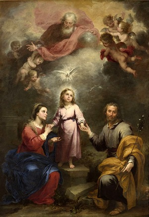 This beautiful painting of the Holy Family of Jesus, Mary, and Joseph is by the Spanish Baroque painter, Murillo, and it is now in the public domain.