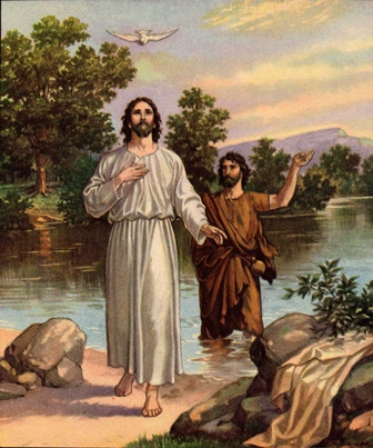 The Holy Spirit, in the form of a Dove,descends upon Jesus at His baptism to confirm that He is the Son of God.