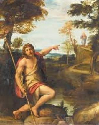 Saint John the Baptist, the last of the Old Testament prophets, proclaims Jesus Christ to the world as the Lamb of God.