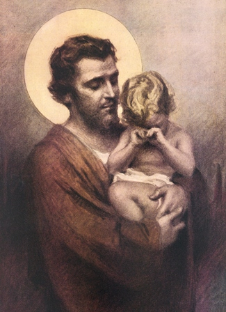 Saint Joseph, the foster father of Jesus, holds Christ as a child in this artwork by C.B. Chambers. Though it appears the Christ Child is crying, it is also possible that He is simply tired and rubbing his eyes.