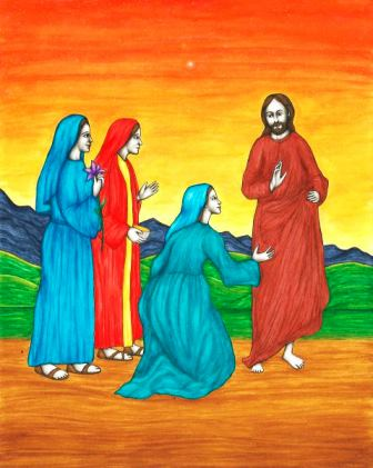 In this original book illustration, by Jason Koltuniak in Saved by the Alphabet from Divine Providence Press, Jesus was supported in His ministry by Susanna, Joanna, and Mary Magdalene.