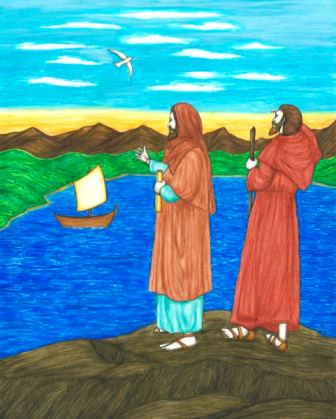 In this original book illustration, by Jason Koltuniak in Saved by the Alphabet from Divine Providence Press, Saints Timothy and Titus are sent out into the world as missionaries for Christ.