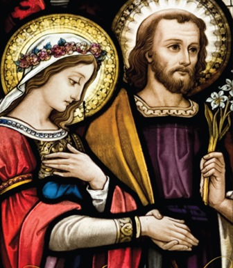 In this original artwork from the Missionaries of the Holy Family, Mary and Joseph exchange wedding vows.