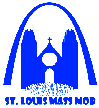 This is the logo for the Mass Mob Movement in the Archdiocese of Saint Louis to promote Mass attendance at old, historic churches.