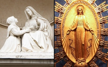 The Blessed Virgin Mary gave the image of the Miraculous Medal to Saint Catherine Laboure.