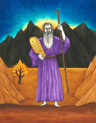 In this original book illustration, by Jason Koltuniak in Saved by the Alphabet from Divine Providence Press, Moses receives the Ten Commandments from God.