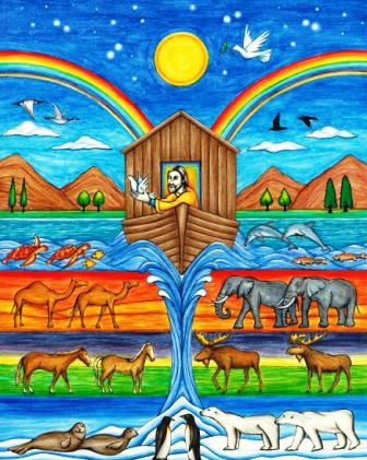 This illustration of Noah and his Ark of animals is by artist Jason Koltuniak and included in the scriptural counting book for children, Counting on Faith, available from Divine Providence Press.