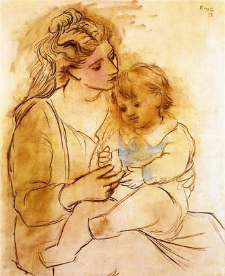 This famous painting by Pablo Picasso of Mother and Child was created in 1922 and is in the public domain.
