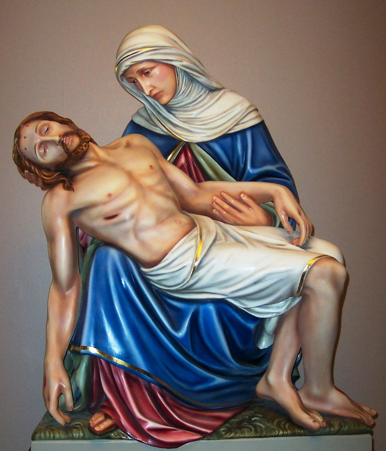 This is the exquisitely restored Pieta Statue at Saint Wenceslaus Church in Saint Louis, Missouri.