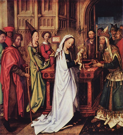 Mary and Joseph bring the Infant Jesus to the Temple in Jerusalem to have Him consecrated to the Lord according to the Law of Moses.
