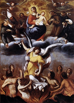 Church Suffering refers to the Holy Souls in Purgatory who are undergoing final purification before entering the Kingdom of Heaven.