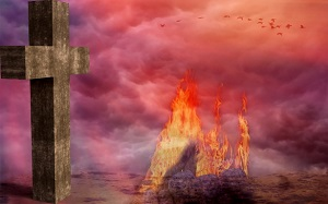Purgatory is represented by fire since it is the final purification process for souls on their way to Heaven.