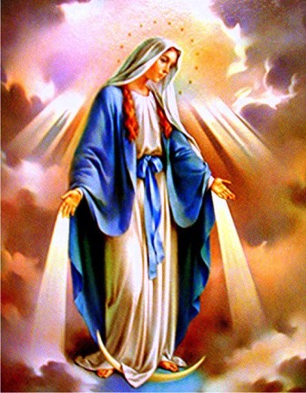 This image honors the Blessed Virgin Mary as the Queen of Heaven from the Book of Revelation, Chapter 12.