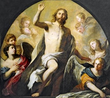 This artwork by P. Novelli shows Jesus gloriously rising from the dead on Easter Sunday surrounded by angels.