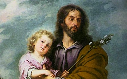 This is a public domain image of Saint Joseph as protector and father of the Child Jesus.