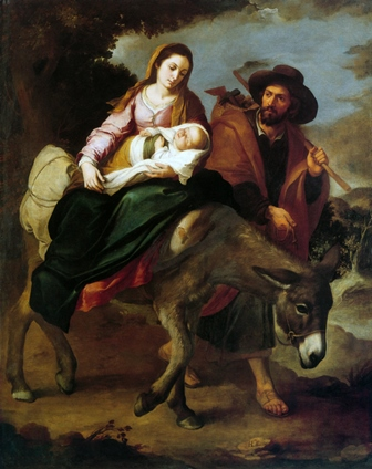 Immediately acting upon the instructions from an Angel of God in a dream, Joseph escapes with Mary and Jesus by night out of Bethlehem and into Egypt.