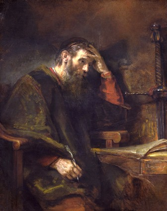 This famous painting, The Apostle Paul by Rembrandt van Rijn, is dated to 1657, oil on canvas (Dutch, 1606 - 1669 ).