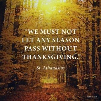 In the beautiful change of seasons, Saint Athanasius reminds us that we must not let any season pass without thanksgiving to God.