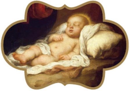 In this simple image, the Infant Jesus sleeps peacefully as foretold by the Prophet Isaiah.