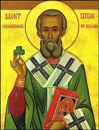 This classic icon of Saint Patrick depicts him holding a shamrock in his right hand and a Bible in his left hand.