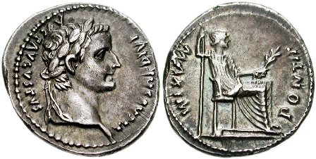 This is an image of a denarius coin in the time of Jesus Christ, which reads: Caesar Augustus Tiberius, son of the Divine Augustus.