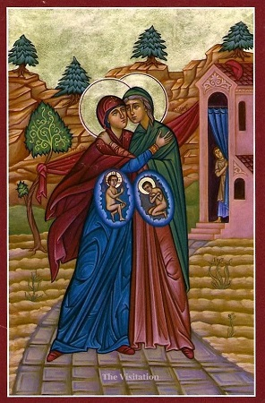 The Blessed Virgin Mary, pregnant with Jesus Christ, visits Elizabeth, pregnant with John the Baptist.