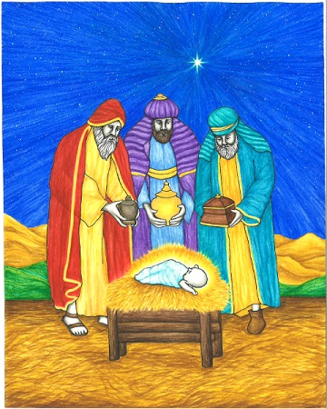 This original artwork of the Wise Men from the East is by illustrator Jason Koltuniak, and it is published in the children's book, Saved by the Alphabet.