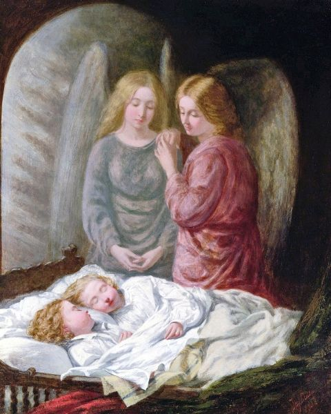 In this painting by the British artist Joshua Mann, 1849-1884, two angels keep watch over a sleeping child.