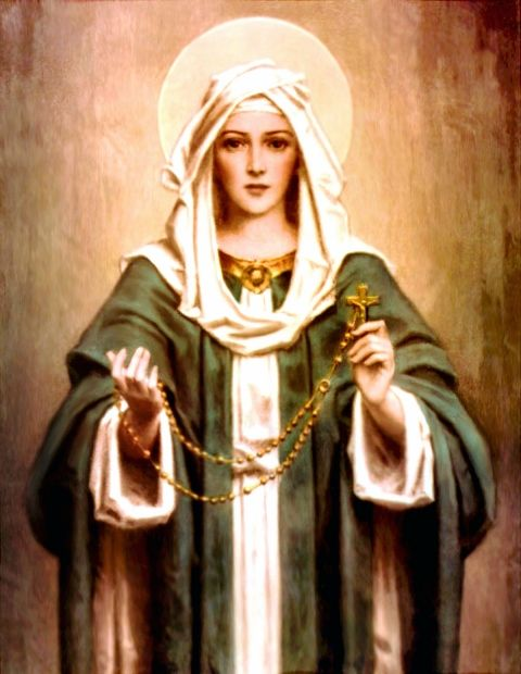 The Blessed Virgin Mary is depicted in this special artwork as Our Lady of the Rosary.