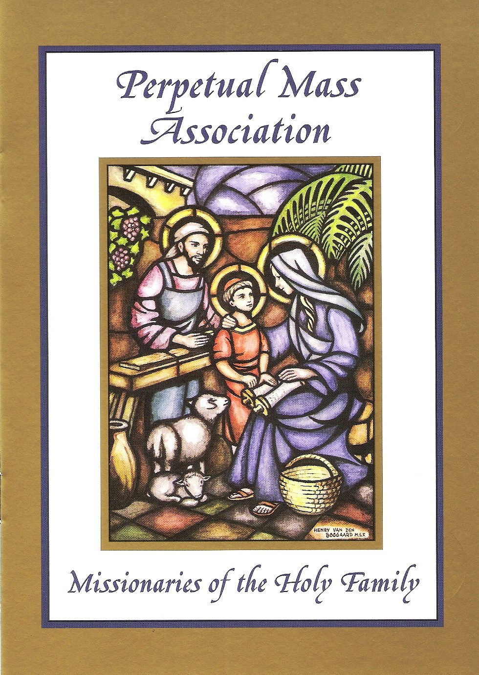 Our beautiful Perpetual Mass Card contains original artwork and the Holy Family Prayer.